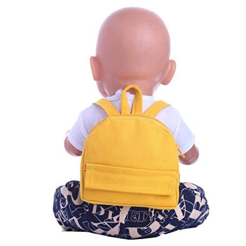 SunnyGod Plüsch-Spielzeug Baby-Puppen-Tragetasche, Doppelriemen, Rucksack für 45,7 cm Unsere Generation American Girl Puppe Lernspielzeug (Pink) gelb