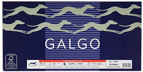 Galgo 054895 - Pack de 25 sobres de papel verjurado, 110 x 220 mm
