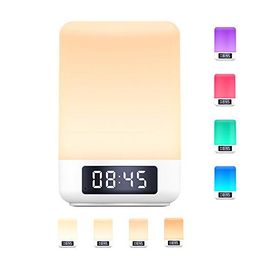 Arbily Nachttischlampe Nachtlicht mit Touchsensor Bluetooth-Lautsprecherfunktion warmes Tischleuchte in 8 Farbwechsel und 3 Helligkeitsstufen Dimmbar Atmosphäre Tischlampe Musik Batterie betrieben LED warmweiß Schreibtischlampe das perfekte Geschenk auch für sich selbst! (warmweiß)