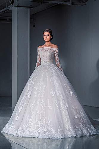Jyl abito da sposa abito da sposa abito da damigella d'onore abito da ballo da sera abito da sera con spalline in pizzo abito da principessa una linea pure white/us: 2 (s)