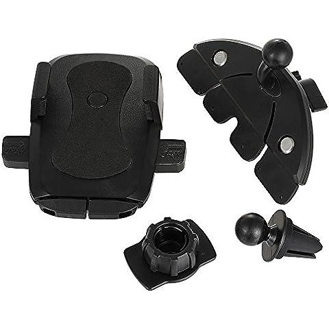 Coche Montar Poseedor,eForHome 2-en-1 CD Universal Sostenedor Teléfono Montaje Coche / Salida de aire de la horquilla con la rotación de 360 grados para el iPhone 7/7 Plus / Se / 6s, iPod, Samsung S7 / S6 / Edge, HTC, Sony y Más -Negro