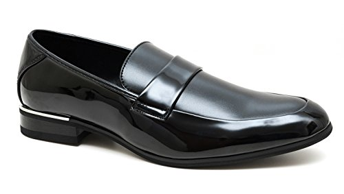 Mocassini uomo class nero eleganti scarpe man's shoes cerimonia (44)