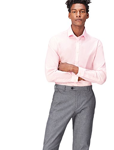 FIND Men's Shirt Cotton in Button Down Tailored Fit, Pink (Soft Pink), Large