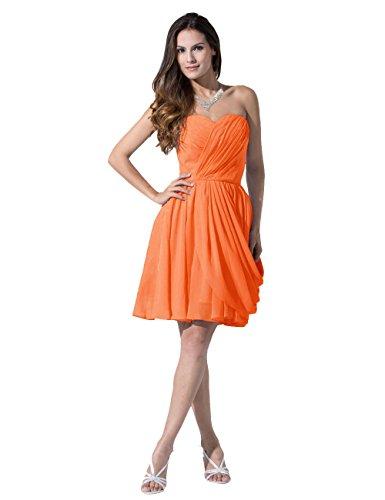 Dressystar Robe de demoiselle d'honneur/de soirée courte,Sans Bretelles, en Mousseline Orange