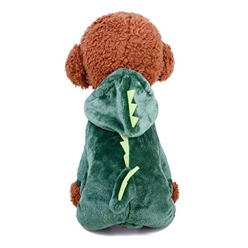 Haustier Kleidung, niedlichen Cartoon-Stil Haustier Kleidung Dinosaurier Haustier verkleiden Sich verdicken Winter warme Haustier Mantel für Hunde Katzen (Farbe: grün, Größe: XS),s