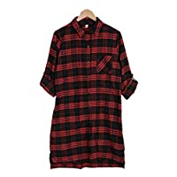 Women Plaid Mini Dress T-Shirt, Ladies Fashion Long Sleeve Soft Lattice Dress