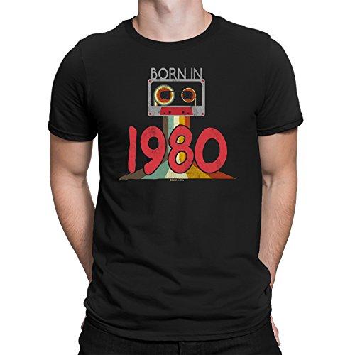 Born in 1980 - De los Hombres 38th CUMPLEAÑOS Cassette Tape Camiseta 80s Eighties Retro Mans