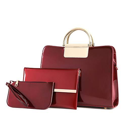 Zhongsufei-bag Damen Tote-Schulter-Beutel-Geldbeutel Frauen PU Lackleder Einfarbig Handtasche Nähen Muster Einstellbar Schultergurt Tote Satchel 3 stücke Brieftaschen (Farbe : Rot) -