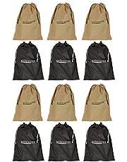 Shoeshine Black & Beige Fabric Shoe Bag (Set of 12 Bags)