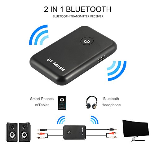 Kreema 2in1 Bluetooth V4.2 Trasmettitore Ricevitore Long Distance Wireless HiFi Toslink/SPDIF 3.5mm Jack APTX per Home Stereo Audio System