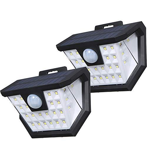 Luz Solar Exterior,Tomshine 2 Pack 2x28 LED Focos Led Exterior Solares con Sensor de Movimientos PIR Recargable IP65 Impermeable Luz Solares de Pared para Jardín,Garaje,Terraza