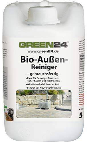 GREEN24 Profi Bio-Außen-Reiniger 5 Liter - Haustier freundlicher Spezial Steinreiniger für Wege, Terrasse, Pflaster, Naturstein, Holz und WPC gebrauchsfertig -