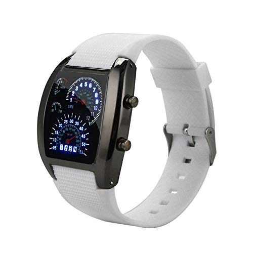 MJIE Reloj Digital para Hombre con luz LED, Flash, velocímetro Turbo, Reloj Deportivo, medidor para automóvil, Reloj Ms, Blanco