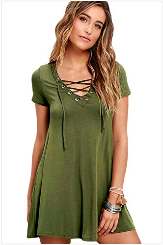 meinice Casual Lace-up abito Swing Green
