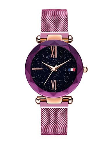 Damen Uhren, L'ananas Frauen Sternenklarer Himmel Wählen Diamant schneiden Mesh Riemen Armband Armbanduhr Women Watches (Lila-A)