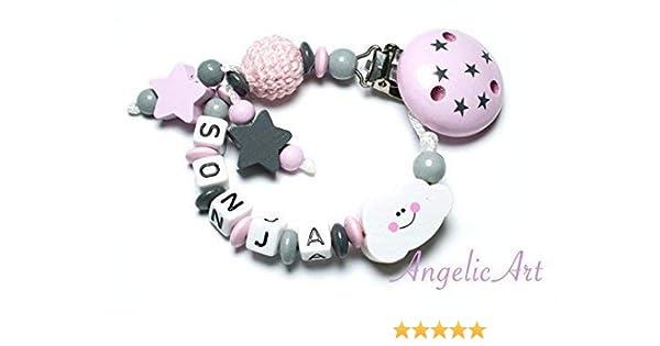 Schnullerkette mit Namen ♥ Stern ♥ Häkelperle ♥ Rosa Grau ♥ Mädchen ♥ Baby ♥