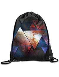 cleaer Triangular Space Gym Drawstring Backpack Unisex Portable Sack Bags 14 X 16.5 Inch