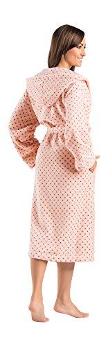 Accogliente Accappatoio Vestaglia Lunga Donna Calda Morbida con Cappuccio e Pois Rosa Chiaro-Piccoli Pois Grigi