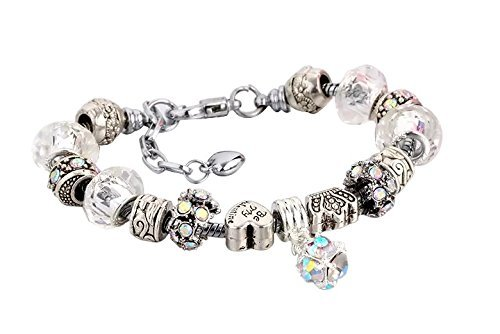 Bracciale in argento per ciondoli con perline in vetro di murano, stile europeo, 20 cm, compatibile con charm pandora e argento, colore: 11 clear opal, cod. 11clearopal