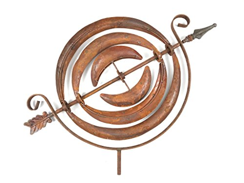 Crispe home & garden Großes Windspiel drehende Kreise in Edelrost - kugelgelagertes Windrad Windmühle - Höhe 201 cm - Durchmesser 40 cm - allwetterfest