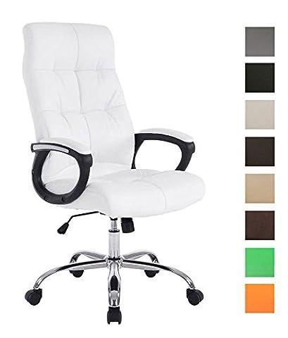 CLP Chaise de bureau confortable POSEIDON, poids admis 160 kg, rembourrage épais, hauteur réglable blanc