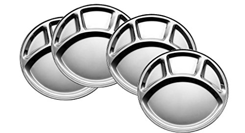 King Traders Stainless Steel Four Compartment Round Plate / Thali/ Mess Tray/ Dinner Plate Set of 4 pcs- 33.5 cm each  available at amazon for Rs.499