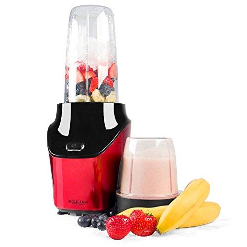 Eculina Smoothie Maker in rot /schwarz - leistungsstarker Standmixer 1000 Watt Leistung - 400 und 1000 ml Tritan Becher BPA-frei - 2 Edelstahlmesser (Flach- & Kreuzklinge)