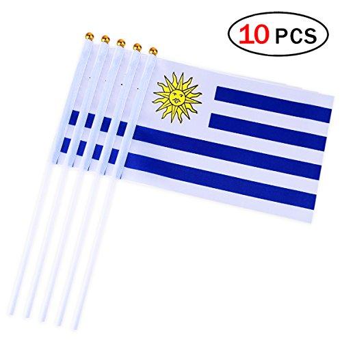 RUNFON 10x Uruguay Hand Hand Waving Flag Flags 14x 21cm