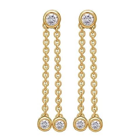 Orphelia - RD-023 - Boucles d'Oreilles Femme - Or jaune 750/1000 (18 carats) 4.3 gr - Diamant 0.4 cts