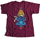 A002-449m Pencil Monk Herren T-Shirt Inner Peace Pray Levitation Float Air Faith Religion God Buddha Nepal India Lucky Laughing(XX-Large,Maroon)