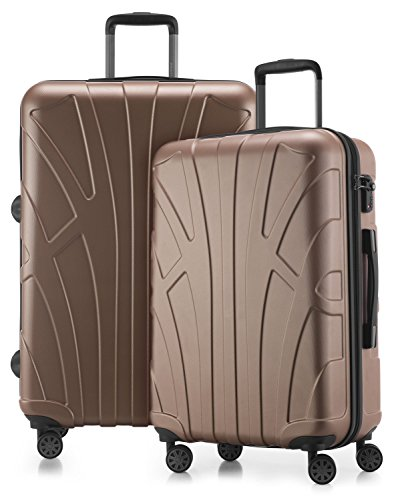 Suitline - 2er Koffer-Set Trolley-Set Rollkoffer Hartschalen-Koffer Reisekoffer, TSA, (66 cm, 76 cm), 100% ABS, Matt, Gold