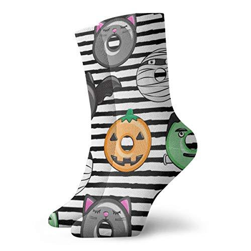 Huabuqi Halloween Fantasy Frauensocken Donut Medley - Black Stripes - Monster Frankenstein Pumpkin Black Cat Dracula_4392, Anti-Color-Dropper für Herren Damen 100% Baumwolle one size.