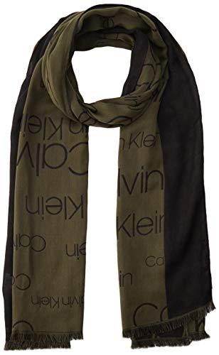 Calvin Klein Herren AVENUE LOGO SCARF 50X180CM Schal, Grün (Camouflage 321), One Size (Herstellergröße:OS)