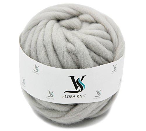 floraknit, (0,55LB) 100% Merino Wolle Super Chunky Garn klobigen Roving Garn für Arm Stricken, Häkeln Filzen, Teppiche Decke herstellen und Basteln, LightGrey, 500g-40mm (Garn Merino Chunky)
