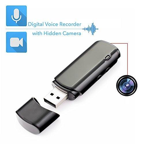 Mini Grabadora de Voz con Cámara Espía Oculta Integrada, 2 modos de grabación: solo Audio y Audio-Video, Duración de la batería: 25 Horas en Modo Audio y 5 Horas en Modo Vídeo | Mini Cámara Oculta Portátil y USB Grabadora Espia de Audio