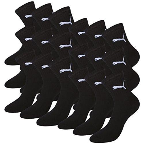 Puma Basic Short Crew Unisex Sporsocken im Farbmix. 9 Paar (43/46 - 9 Paar, schwarz)