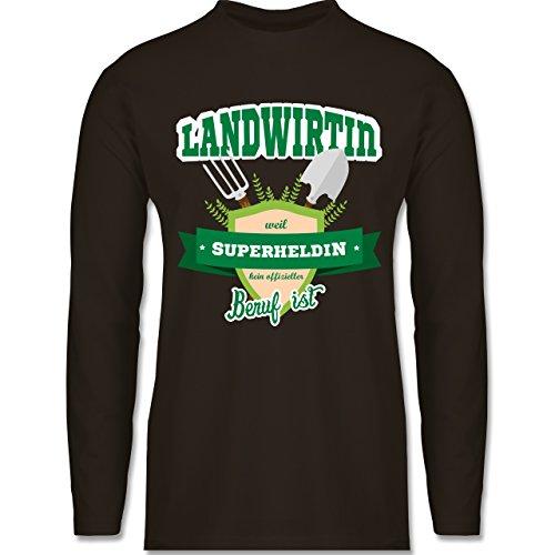 Landwirt - Landwirtin - weil Superheldin kein offizieller Beruf ist - Longsleeve / langärmeliges T-Shirt für Herren Braun