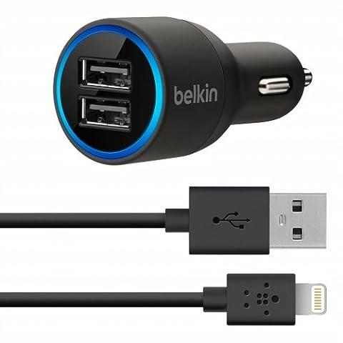 Belkin - Chargeur Allume-Cigare Double Entrée (2 x 2.1A) avec Câble Lightning pour iPhone et iPad - 1,2M -