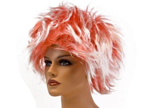 Alsino Strähnchen Kurzhaarperücke - rot-weiß - Punk Faschingsperücke Damenperücke Karneval Frauen Karnevalsperücke Frauenperücke Fasching Sexy Damen Perücke , wählen:rot ()