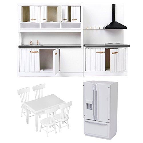 CUTICATE Maßstab 1:12 Puppenhaus Miniatur Kühlschrank \u0026 Stühle Tisch \u0026 Schrank , Esszimmer Küche Wohnzimmer Dekorationen (1 12 Maßstab Kühlschrank)