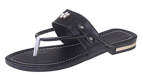 Mme sandales d'été orteil clip sandales glisser sandales plates et pantoufles femmes Black