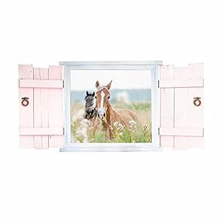Nikima 023 Wandtattoo Pferde Im Fenster Mit Fensterläden   In 6 Größen    Wunderschöne Kinderzimmer Sticker