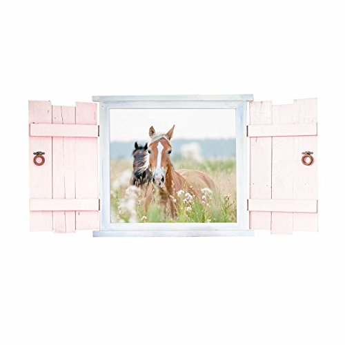 e im Fenster mit Fensterläden - in 6 Größen - wunderschöne Kinderzimmer Sticker und Aufkleber süße Wanddeko Wandbild Junge Mädchen Größe 1000 x 500 mm ()