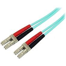Startech.Com Cavo di Rete Patch Duplex in Fibra Ottica Multimodale LSZH 50/125 da 10 Gb, 1m, LC-LC, Connettore Rete Fibre Ottiche, Aqua