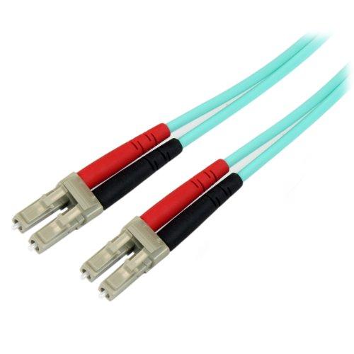 Startech.Com Cavo di Rete Patch Duplex in Fibra Ottica Multimodale LSZH 50/125 da 10 Gb, 10m, LC-LC, Connettore Rete Fibre Ottiche, Aqua