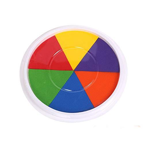 Abwaschbare Stempelkissen Farben Fingerabdruck Ungiftig Tinte Stamp Pad Scrapbook, Malerei Kinder Geburtstags Ostern Geschenke für Kinder (Mehrfarbig, 16 cm × 2 cm (6) -