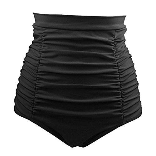 Cocohot Damen Badeshorts Retro High Waist Bikini Hose Hoch Tailliert Swiming Briefs Geraffte Schwimmen (Schwarz, XXX-Large) - Geraffte Rückseite Unten