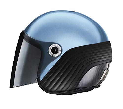 Ujet offener Helm | Leichtes Carbon | Von einem der Top-Modedesigner | Für Moped-, Roller- und Motorradfahrer (M, Bel Air Blue)