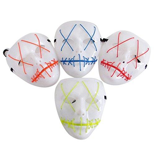 Cuigu LED-Maske Halloween EL Draht Gesichtsmaske Vollgesicht Besteck Party Cosplay Kostüm