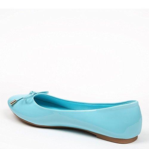 Ideal Shoes–Ballerine in vernice colorate, modello Tahani Blu